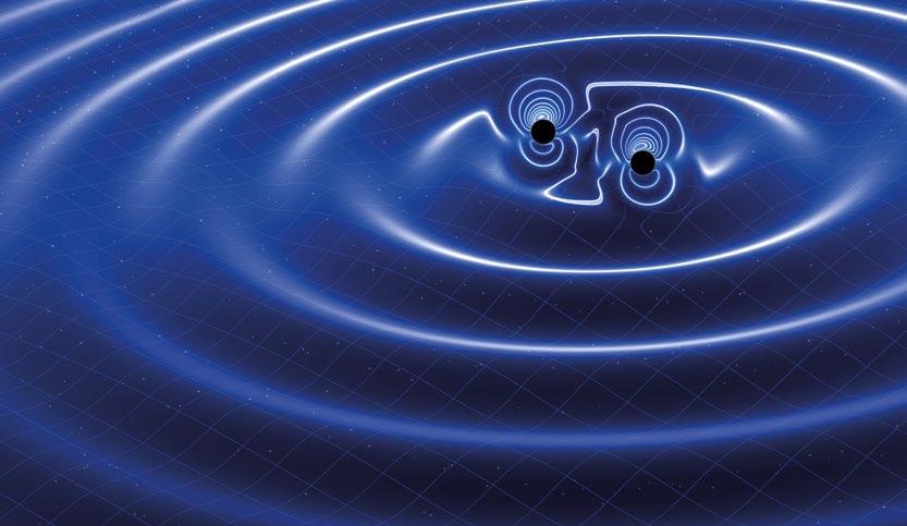 Birbiri etrafında dönen iki cismin oluşturduğu kütleçekim dalgaları uzayzamanı dalgalandırıyor.